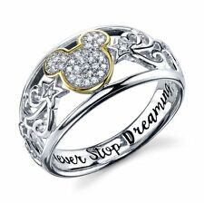 STERLING SILVER REAL DIAMOND DISNEY MICKEY MOUSE  RING 'NEVER STOP DREAMING' 9