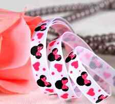 RUBAN GROS GRAIN MINNIE MICKEY DISNEY COEUR ROSE FUSHIA BLANC SCRAP COUTURE 10mm