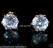 Men's round 8mm simulated diamond 18k white gold filled stud earrings /UK