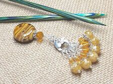 Snag Free Knitting Stitch Markers &  Butterscotch Clip Holder- Gift For Knitters