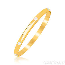 Baby Bangle 14kt Yellow Gold Polish Tube w/ White Nails Head Bracelet with Clasp