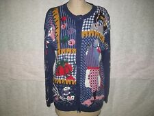 FAITH MOUNTAIN HAND KNITTED SEWING SWEATER ASSORTED MOTIFS SZ L NWOT!
