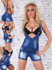 Sexy Women's Denim Dungaree BiB Shorts Ripped Effects Blue Hot Pants Size 6-14