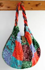 LADIES WOMENS HAND SHOULDER TOTE BEACH MIX COLOUR PATCHWORK FABRIC BAG / BAGMIX