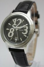 New DKNY Women Black Leather Band Dress Date Watch 40mm NY4371 $155