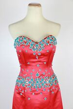 New Genuine Jovani 77587 Red/Turquoise Wedding Evening Bridal Women Gown 10
