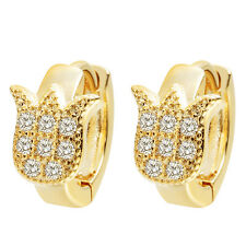 Luxury Zircon Earrings Charming Flower Hoop Earrings for Women Baby Girls