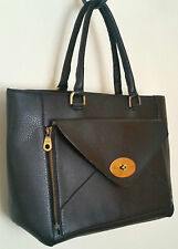Vintage Black Faux Leather Bag with Detachable Turnlock Clutch