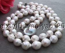 Natural! 14MM Bead-Nucleated Pearl Necklace-Mabe Clasp
