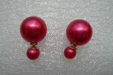 NEW ZARA BIG 16 MM DOUBLE SIDED RED PEARL STUDS CAN BE WORN EACH SIDE NEW