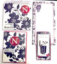 Lot of 4 Office Supplies - MONOGRAM N - Note Cards List Pad Journal Book Clips