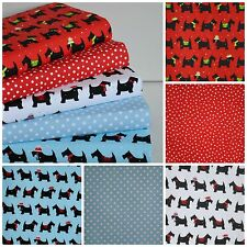 CHRISTMAS POLY COTTON FABRIC 5 X FQ BUNDLE SCOTTIE DOG WESTIE BLUE RED WHITE