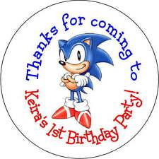 24 Sonic the Hedgehog stickers Birthday Party 1.67 Inch Personalized