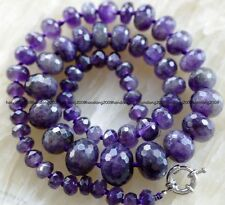 """100% NATURAL 8-20mm purple Faceted Amethyst  Abacus Gem Necklace 22"""""""