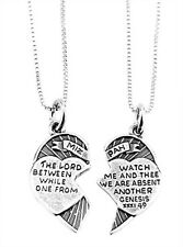 STERLING SILVER CHRISTIAN MIZPAH CHARM & 2 BOX CHAINS