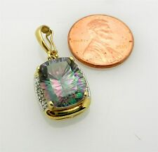 Estate Mystic Topaz 14k Yellow Gold Pendant Charm with Diamond Accent