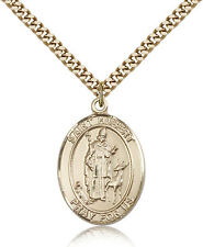 "Saint Hubert Of Liege Medal For Men - Gold Filled Necklace On 24"" Chain - 30 ..."
