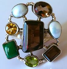 Vintage 925 Silver Ring with Natural Multi Gemstones. Size 8 1/4.