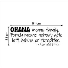 OHANA MEANS FAMILY LILO AND STITCH Vinyl Wall quote Decal home Decor Sticker WAN