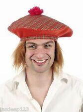 Scottish Tam o Shanter Tartan Chapeau au gingembre cheveux robe fantaisie homme unisexe adulte