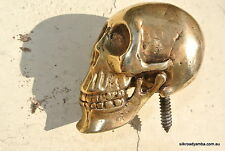 small WALKING STICK SKULL solid heavy BRASS head ONLY screw on 3""