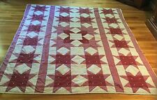 """Vintage Eight Point Quilt - Red And White Tie back - Americana AAFA 92"""" X 74"""""""