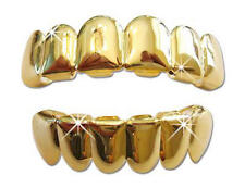 Hip Hop 14K GP Gold Mouth Teeth Grills Grillz Set Player Free Mold Kit Included