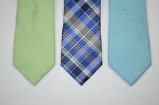 3 Pack NWT CLUB ROOM Silk Aqua Blue Green Plaid Neck Tie Lot