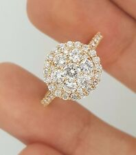 NEW 18K 750 ROSE GOLD NATURAL ROUND DIAMOND FLOWER DESIGNER LADIES CLUSTER RING