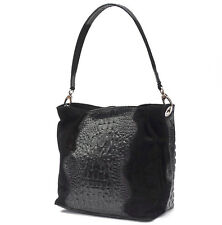 Shoulder Bag Genuine Leather Croc-Print BLACK Made in Italy NEW Tote