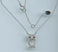 925 STERLING SILVER & 1/3 CARAT TW OWL NECKLACE