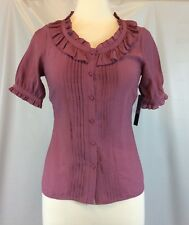 BCBG Max Azria Purple Ruffled Detailed Button Front Blouse Top Size Medium M NWT