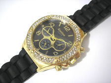 Bling Bling Big Case Rubber Band Ladies & Girls Watch Black Item 2468