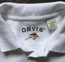 ORVIS MENS HEAVY WHITE POLO GOLF SHIRT L LARGE FLYFISHING