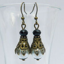 Victorian Vintage Downton Abbey Style Bronze White Pearl Black Crystal Earrings