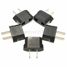 5PCS Euro EU to US USA Travel Charger Adapter Plug Outlet Converter Black HOT