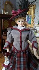 Miniature Dollhouse Artisan Porcelain Lady in Victorian Day Dress 1:12