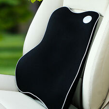 Memory Foam Lumbar Back Support Cushion Pillow Home Car Auto Office Seat  Black
