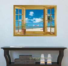 3D Window Exotic Beach Sea View Wall Stickers Art Decals Mural Wallpaper Decor