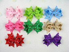 Wholesale New 8pc baby girl boutique cherry hair bows 5 inches with clips-848