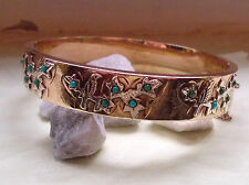 Victorian gold bangle with turquoise cabachons
