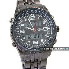 "mens digital analog dual display gunmetal sports watch 8"" metal bracelet"