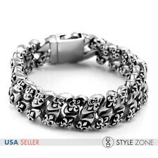 Men's Vintage Gothic Cross Logo Stainless Steel Bracelet Rock Link Chain NEW B20