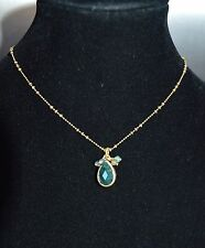 Pilgrim Green Stone Drop Choker Necklace