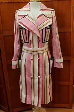 Zang Toi Striped Multi Color Belted Trench Coat Jacket Lined Long XS S