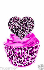 24 x  Leopard Print Hearts - STAND UP Edible Decorations Wafer Cup Cake Toppers