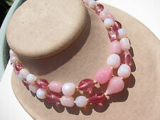 RARE VINTAGE JAPAN CRANBERRY PINK OPAQUE OPALESCENT BAROQUE GLASS BEADS NECKLACE