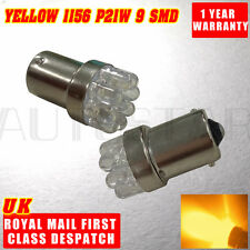 2x AMBER 9 LED 382 1156 BA15S P21W 12V  FRONT INDICATOR LIGHT BULBS YELLOW