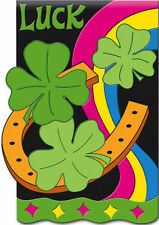 "HORSESHOE SHAMROCKS  LUCK ST PATRICK'S DAY APPLIQUE YARD GARDEN FLAG 12.5"" X 18"""