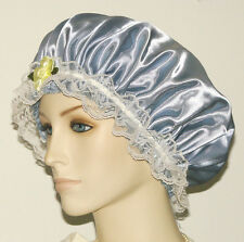 Hair Bonnet Silver Satin w/ Lace or Night Sleep Cap - Adult Size
